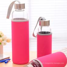 Bouteille d'eau en verre borosilicaté avec manchon en nylon portable
