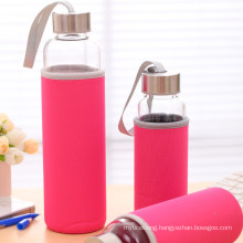 borosilicate glass water bottle with portable nylon sleeve