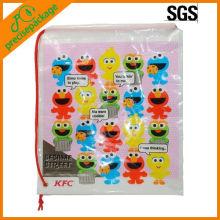 Promocional barato eco-friendly logotipo à prova d 'água impressão de plástico saco de presente do cordão