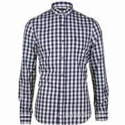 Ladies' Casual Shirt/Blouse with Long Sleeves, Large Gingham Checkered Pattern, Button Down Collar