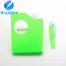 Plastic Cover Memo Pad with Ballpen, Spiral Binding Memo Pad