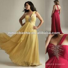Eine Schulter Chiffon Reich Abendkleid 2012
