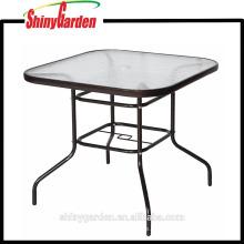 Mesa de comedor de vidrio templado, mesa cuadrada de Oudoor del metal