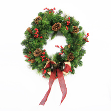 2018 wholesale cheap artificial christmas flower wreaths for outdoor decoration