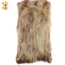 Real Raccoon Dog Fur Vest Sexy Women Fur Gilet Waistcoat