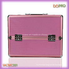 Pink Color Ladies Makeup Case Large Aluminum Beauty Carrying Case (SACMC001)