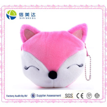 Pink Fox Cartoon mini bolsa de moeda Plush Zipper Cadeia Carteira