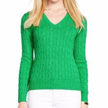 Mulheres da camisola do algodão do cabo 15PKSW32