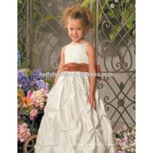 Venda quente branca com faixa de vestidos flowergirl vestidos meninas 1010