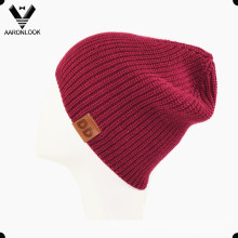 Women′s Warm Knitted Acrylic Winter Cap with Leather Label
