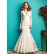 V-Line vestido de novia de manga larga ver a través del vestido de novia de encaje