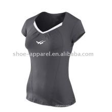Las últimas camisetas de tenis con cuello en v de color gris para mujer