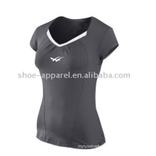 Latest grey color v-neck tennis t-shirts for women
