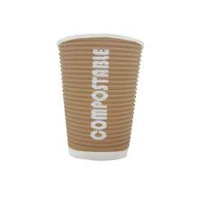 Kraft Ripple papel de pared Copas Offset Logo, PE Paper Cup