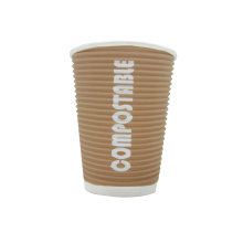 Kraft Ripple Wall Paper Cups Offset Logo, PE Paper Cup