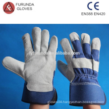 10.5 inches cow split work leather gloves safety gloves