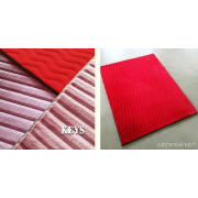 Square Faux Fur Rug Red