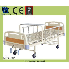 MDK-T305 2 cranks manual hospital bed with table cheap portable hospital bed
