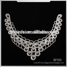 Venta al por mayor collar de cuello de remiendo rhinestone para la decoración de la boda