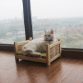 Wicker Wooden Basket Pet Bed for Cats