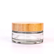 4oz 120ml Frosted Empty Round Glass Cosmetic Cream Jar with Bamboo Lid