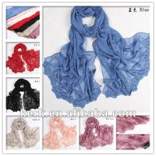 Venda de ações de grosso !! 2012 lenço de seda puro do design 100% da folha da forma, lenço do xaile, estoque 7 cores, N100