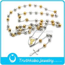 Alta Qualidade Jóias Religiosas Colar de Rosário de Ouro e Prata com Cruz Católica Rosários Aço Inoxidável Colar de Anjo Bebê