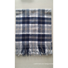 Cashmere & Wool Blended plaid bufanda