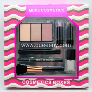Lipstick, eyeliner, brush, powder, set