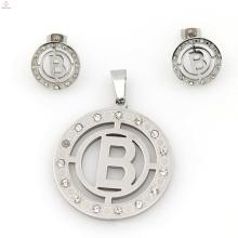China usine directe ronde forme définit la vente, bijoux en acier inoxydable argent personnalisé définit la vente chaude