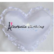 Горячие продажа кольцо сердца кольцо подушки свадебные атласная свадебное кольцо подушки в форме сердца