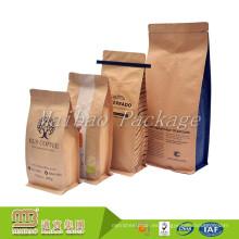 Acepte la orden de encargo 500g Válvula plana del sello del calor del papel de aluminio de la categoría alimenticia inferior Bolsas de café de papel de Kraft con el lazo de la lata