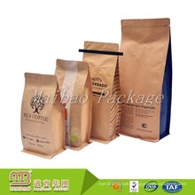 Accept Custom Order 500g Flat Bottom Food Grade Aluminum Foil Heat Seal Valve Kraft Paper Coffee Bags With Tin Tie