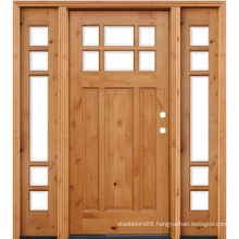 Stained Knotty Alder Wooden Front Door with 2 Sidelites