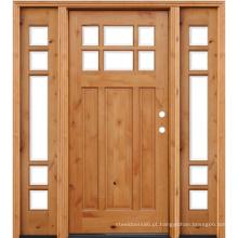 Porta da frente de madeira do amieiro Knotty manchado com 2 Sidelites