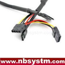 7pin+15pin combo jack to 4pin+7pin sata cable with nylon sleeve