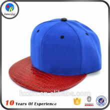 Leather brim custom snapback cap for men