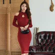 drop shipping Women's 2020 Spring and Autumn New Sexy Off-Shoulder Long Sleeve Half-High Collar Bottoming Bag Hip Knitted Dress