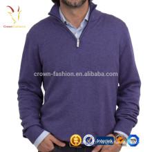 Chandail à col montant en cachemire tricoté à col montant et demi-couleur unie pour homme