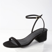 man made sole leather girls shoes with wrapped block heel peep-toe sandals