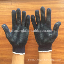 cotton knitted working gloves with PVC dots on palm