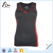 Red Black Race Tank Tops Womens Fitness Wear