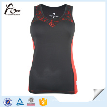 Red Black Race Tank Tops Womens Fitness Wear