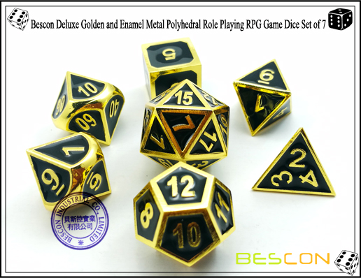 Bescon New Style Deluxe Golden and Enamel Solid Metal Polyhedral Role Playing RPG Game Dice Set (7 Die in Pack)-1