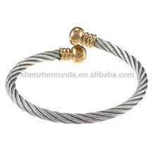 La Preciosa De Acero Inoxidable De Cuerda De Diseño Abierto Cuff Bracelet carillas