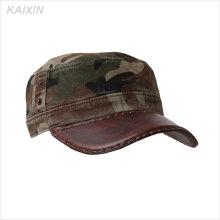 Sombrero militar de tapa de camuflaje en blanco llano de cuero llano plano