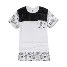 Leather Patch Cashew Nut Pattern Lengthen T Shirt