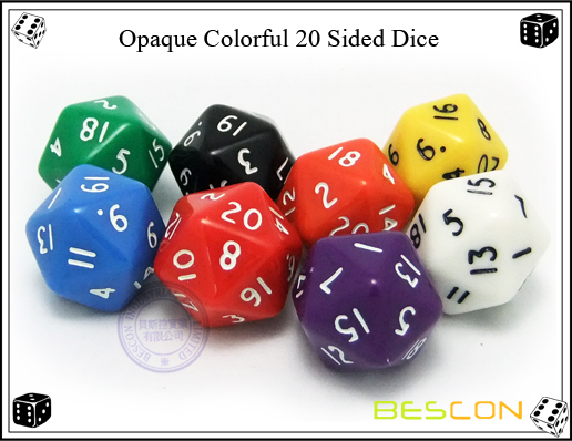 Opaque Colorful 20 Sided Dice