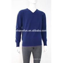 Jersey de suéter con cuello de pico en color azul marino 100% cashmere para hombre