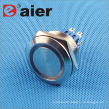 30mm Flat Shape Ring Illuminated IP67 Anti-Vandal Metal Pushbutton Switch